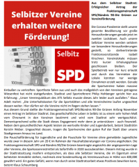 SPD Antrag für die Vereinsförderung erfolgreich